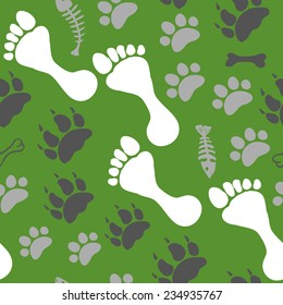 Seamless background of footprints