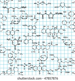 Seamless background with formulas of organic substances