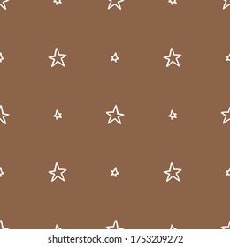 Seamless background galaxy star gender neutral baby pattern. Simple whimsical minimal earthy 2 tone color. Kids nursery wallpaper or boho cartoon night fashion all over print.