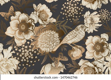 Seamless background with garden flowers peonies, bird and butterflies. Luxury pattern for creating textiles, wallpaper, paper. Vintage. Vector romantic floral Illustration. Antique engraving style.