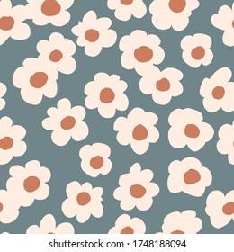 Seamless background gender neutral baby floral pattern. Simple whimsical minimal earthy 2 tone color. Kids nursery wallpaper or boho fashion all over print.