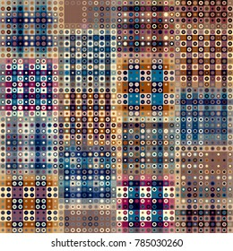 Seamless background. Geometric abstract pattern in low poly pixel art style. Polka dot pattern on low poly background.