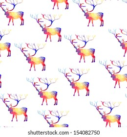 Seamless background with geometric deer