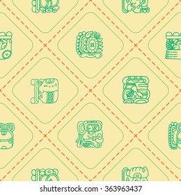 Seamless background with glyphs of the Maya Night Lord for your design