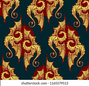 Seamless background with gold dragons. rich seamless background with gold dragons