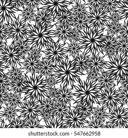 Seamless background. Graphical black and white flower, sketch, isolated on a white background. Vector.