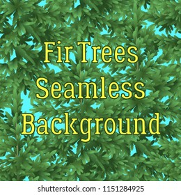 Seamless Background, Green Forest, Fir Trees and Blue Sky, Tile Pattern. Vector