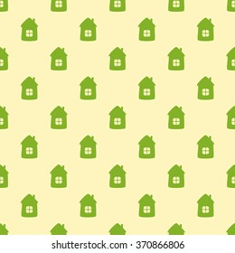 Seamless background with green houses on flaxen background. For textile, wrapping paper, wallpaper, boxes decoration, other packing elements