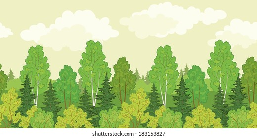 Seamless background, green summer forest with fir and birch trees and cloudy sky. Vector