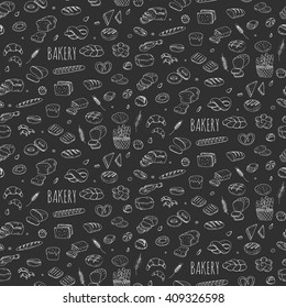 Seamless background with hand drawn Bakery doodle set. Cartoon food: rye, ciabatta, whole grain, sliced bread, bagel, french baguette, croissant Vector illustration Sketchy flour products elements