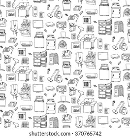 Seamless background hand drawn doodle Home appliance vector illustration Cartoon icons set Various household ?equipment Major appliances Consumer electronics Kitchenware Freehand vector sketches