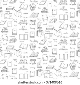 Seamless background Hand drawn doodle Books and Reading set Vector illustration Sketchy icons and elements Vector symbols of reading and learning Educational club illustration Education logo element