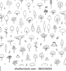 Seamless background hand drawn doodle Trees and Forest set. Vector illustration Plant icons Forest concept elements. Isolated silhouette nature symbols collection. Clipart design. Leaf Fir Ever green