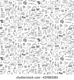 Seamless background Hand drawn doodle BBQ party icons set. Vector illustration summer barbecue symbols collection Cartoon various meals, drinks, food ingredients and decoration elements Sketch