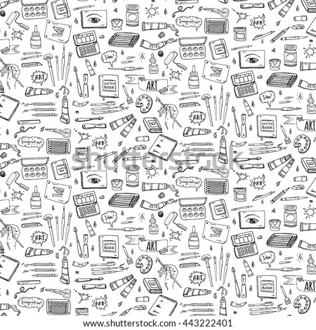 Seamless Background Hand Drawn Doodle Art Stock Vector (Royalty Free ...