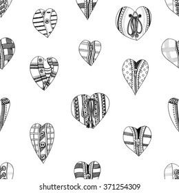 Seamless background of hand drawn hearts. Background for Valentines day. Sketch for coloring book. Vector, doodle design elements. Black and white.