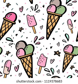 Seamless background with hand drawn illustrations of ice cream.