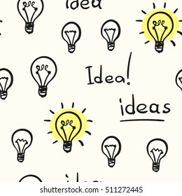 Seamless background hand drawn light bulb concept of idea