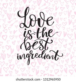 Seamless background with hand drawn red chalk hearts and modern hand drawn lettering love theme.