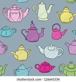 Seamless background with hand drawn teapots. Vector EPS10 version.