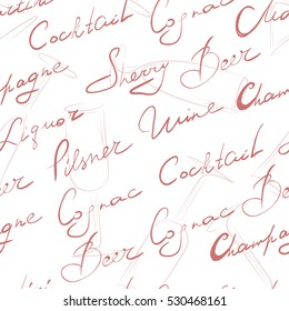 Seamless background. Hand writing of names cocktails. Isolated