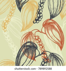 Seamless background with hand-drawn black pepper plant. Vector illustration