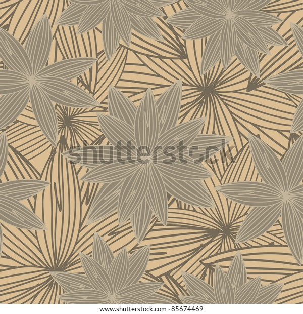 seamless background from hand-drawn brown flowers