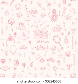 Seamless background hand-drawn vintage princess girl set, Doodle Design Elements, Sketchy Fairy Tale Princess Tiara Crown Notebook, Vector Illustration, for design and scrapbook, To be a princess