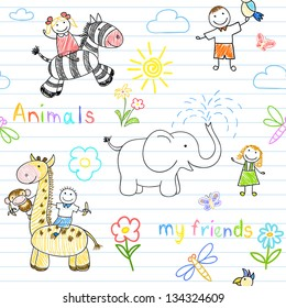 Seamless background with happy children's and animals. Sketch on notebook page