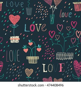 Seamless background with heart icons