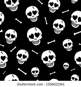 Seamless background with hearts and skulls. Skull love heart pattern. Deadly amur background. Vector texture