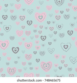 Seamless background with hearts. Vector illustration pattern. Hand drawn hearts. Design for valentine and wedding