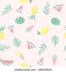 Seamless background with ice cream, watermelon, lemon and pineapple and palm leaves. Vector illustration.