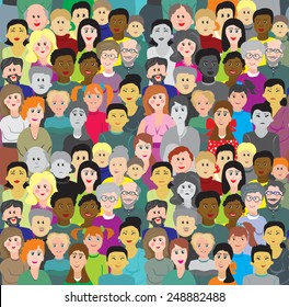 Seamless background or illustration crowd. Some people are sad and colorless it can mean social problems (drug addicts, carriers of the virus, do not buy the advertised product, uneducated, etc.)