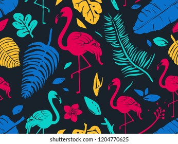 Seamless Background Illustration of Flamingo and Tropical Leaves in Vivid Colors