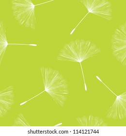 Seamless background illustration with flying dandelion seeds