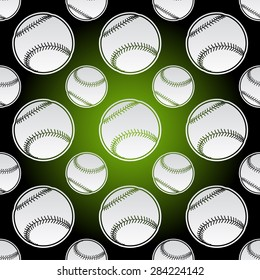Seamless background illustration of repeating baseball balls