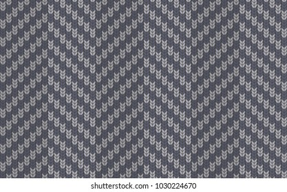 Seamless background with imitation of a knitted sweater. Simple geometric pattern in winter theme. Sample and template of knitted article. Vector illustration.