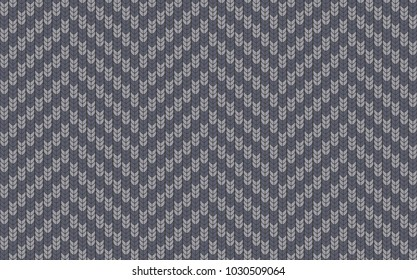 Seamless background with imitation of a knitted sweater. Simple geometric pattern in winter theme. Sample and template of knitted article. Vector illustration. Imitation of woolen cloth. Zigzag form.