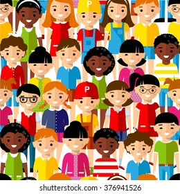 Seamless background of international set children. Seamless background with multicultural boys and girls in colorful style.