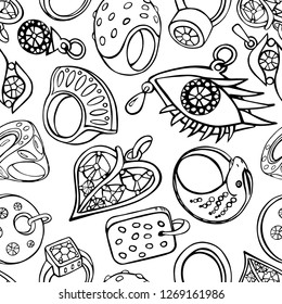 Seamless background of jewelry set in black outline on white background.