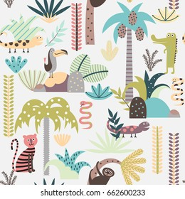 Seamless background with jungle plants and wild animals  in cartoon style. Children vector pattern.