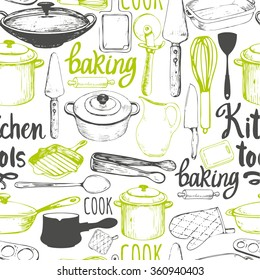 Seamless background with kitchen appliances and tools. Menu pattern. Vector Illustration with funny cooking symbols on white. Decorative elements for your packing design. Multicolor decor.