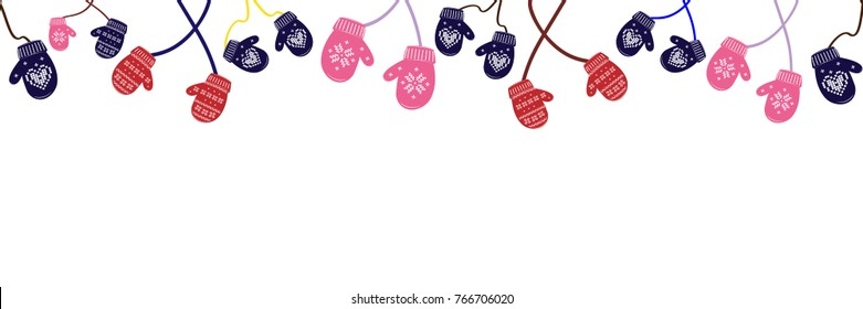Seamless background knitted christmas mittens on white background. Vector illustration.