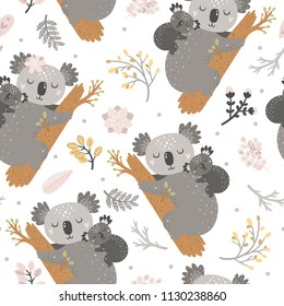 Seamless background with koala and flowers. Mother and baby, pastel colors