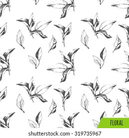 Seamless background of leaves. Vector black and white pattern. Floral pattern.