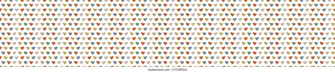 Seamless background love heart banner. Gender neutral baby pattern. Simple whimsical minimal earthy 2 tone color. Kids nursery border or boho fashion ribbon trim