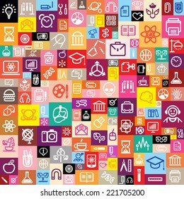 seamless background made of school and college icons, vector