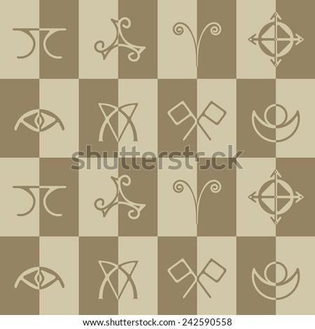 Seamless Background Magical Symbols Elves Fyn Stock Vector Royalty