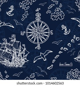Seamless background with marine and nautical elements, old ships, compass, treasure islands on blue. Pirate adventures, treasure hunt and old transportation concept. Hand drawn vector illustration